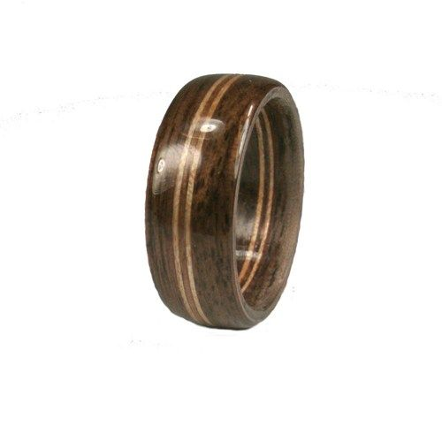 Mens Bentwood Walnut Ring with Double Maple Stripes | GrandPrairieWoodworks - Jewelry on ArtFire