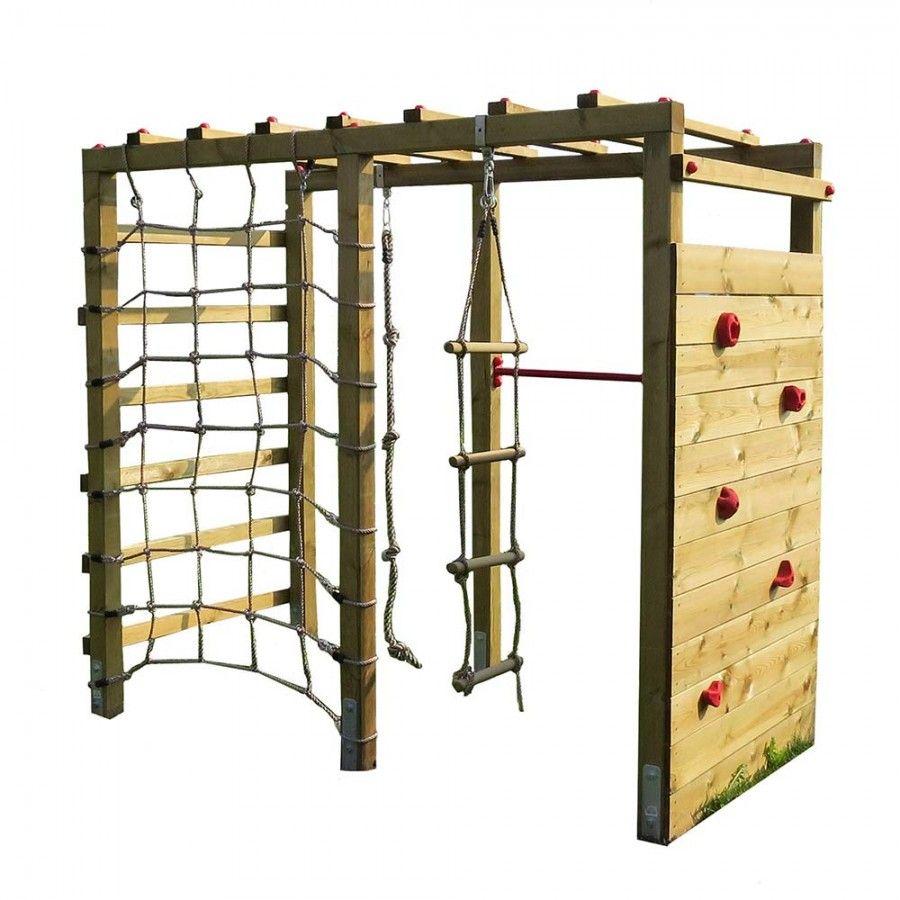 Klettergerüst Holz mit Kletterwand Premium Kinder