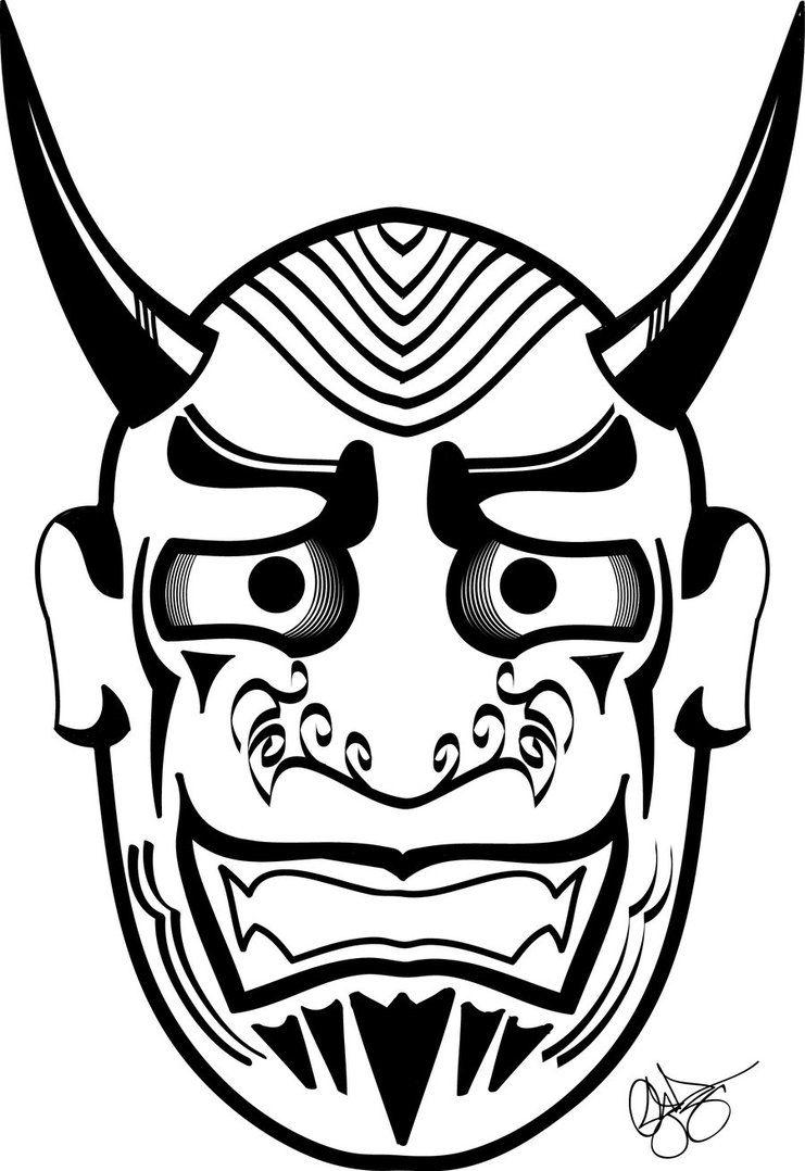 Oni noh mask masks pinterest masking for Kabuki mask template