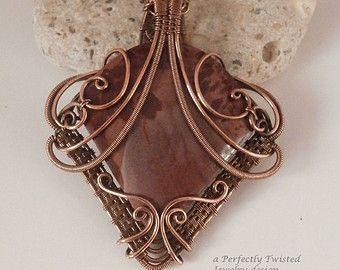 Imperiale Jaspis, Draht gewickelt Kupfer Anhänger Halskette ...