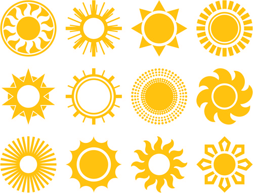 Sun icons design elements (With images) | Sun logo, Vector icons ...
