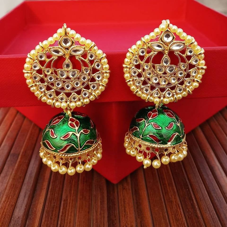 Kundan Jewelry Jhumka Earrings Indian Earrings Meenakari Earrings