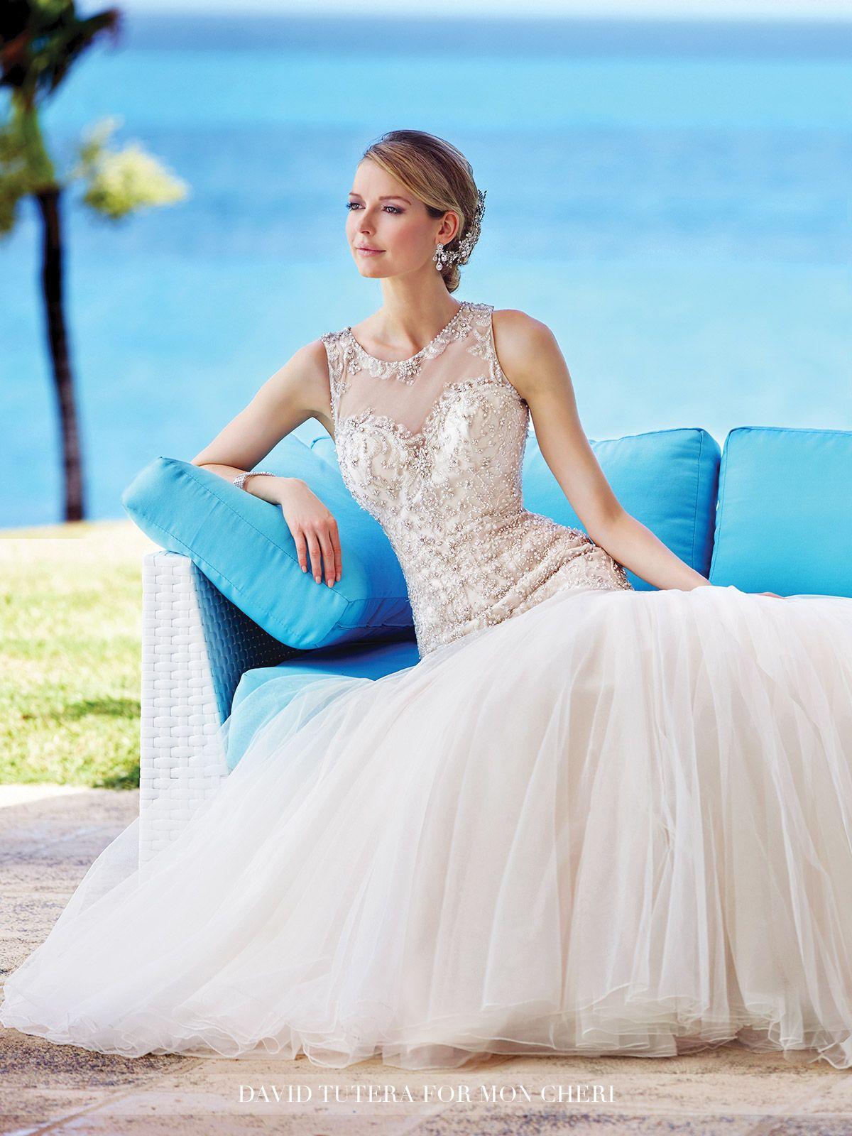 Embroidered Tulle & Satin Trumpet Wedding Dress- 216240 Neela ...