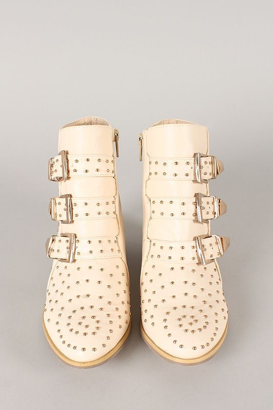 Bumper Anka-01 Studded Buckle Cowboy Ankle Bootie