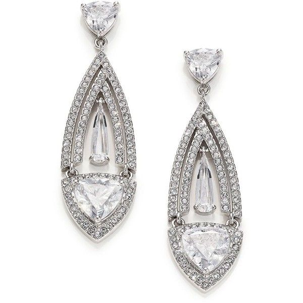 Adriana Orsini Athena Marquis Drop Earrings ($125) ❤ liked on Polyvore featuring jewelry, earrings, apparel & accessories, silver, teardrop earrings, adriana orsini jewelry, womens jewellery, post drop earrings and pave drop earrings