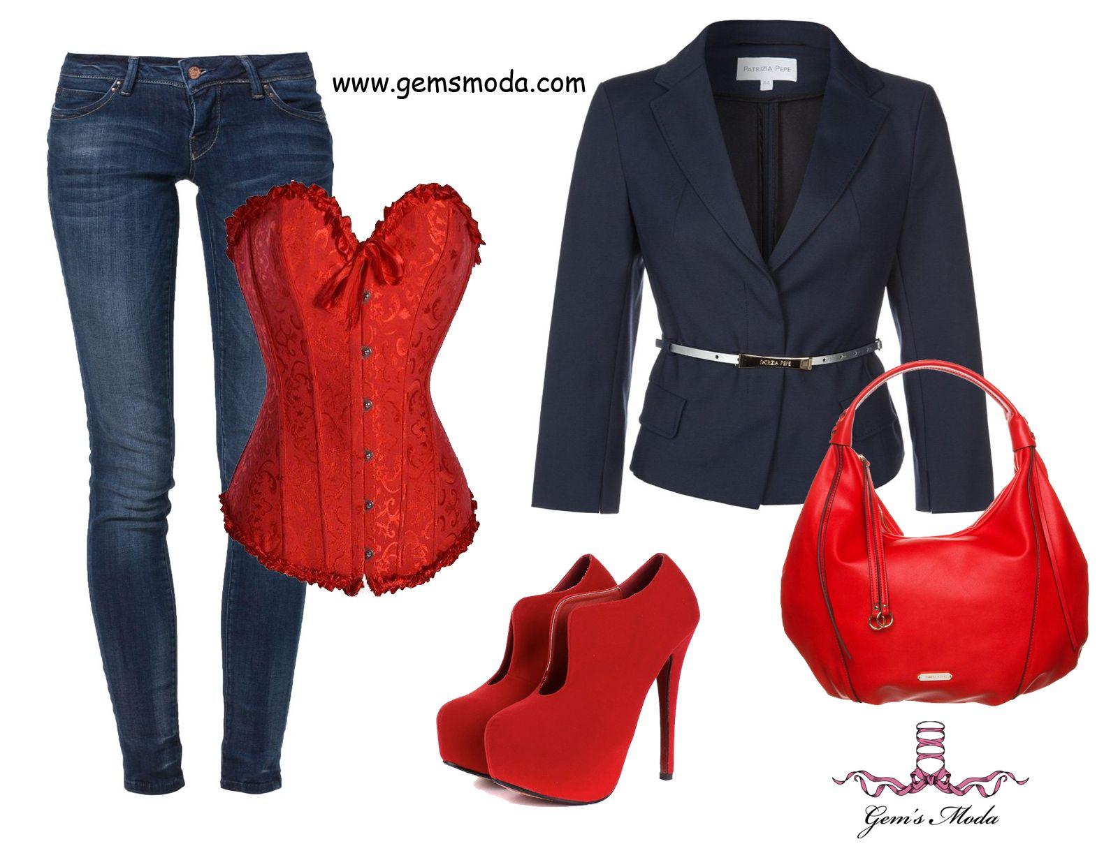 Outfit con corsé rojo, jeans, blazer y complementos a juego.