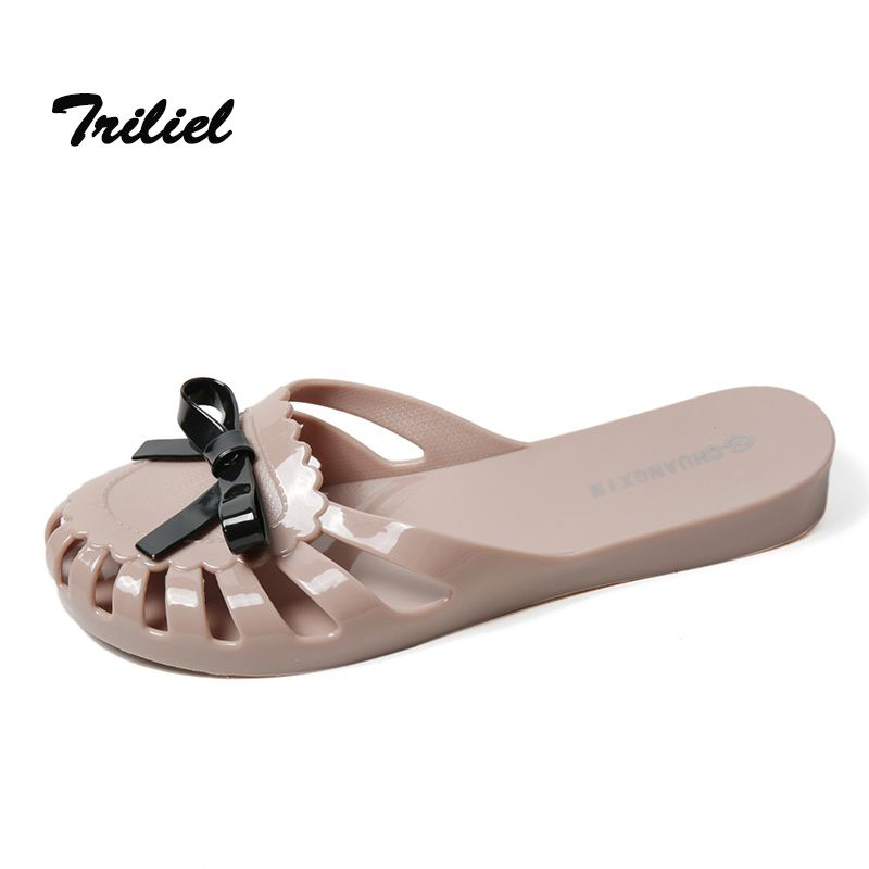 8c35ea652 Click to Buy    Summer New Fashion Women Slippers Flat Plastic Jelly Ladies