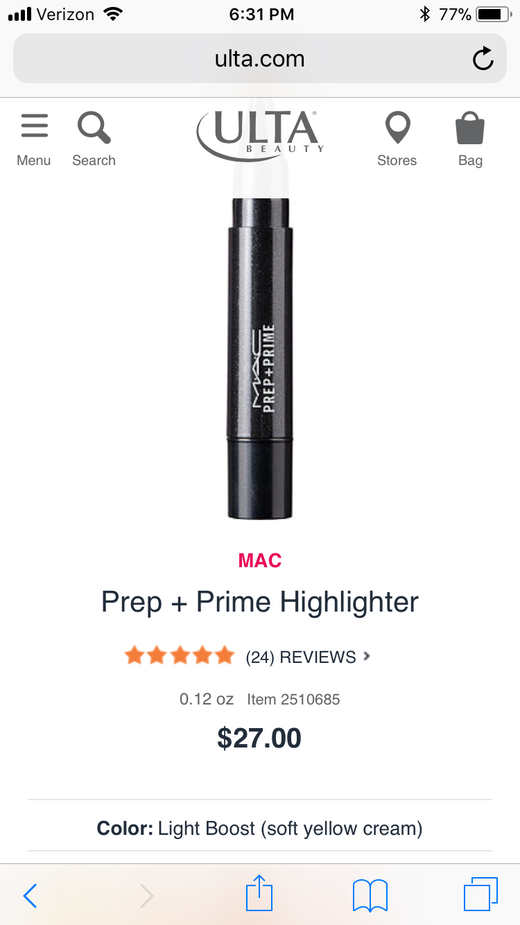 Ulta does not have this. Must order online 🙄 Ulta, Mac