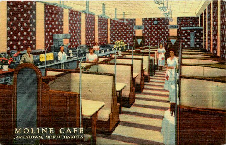 Jamestown North Dakota ND 1950 Interior Moline Cafe Vintage Linen Postcard