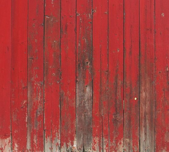 Robust red wooden planks barnwood mural wallpaper for a ...