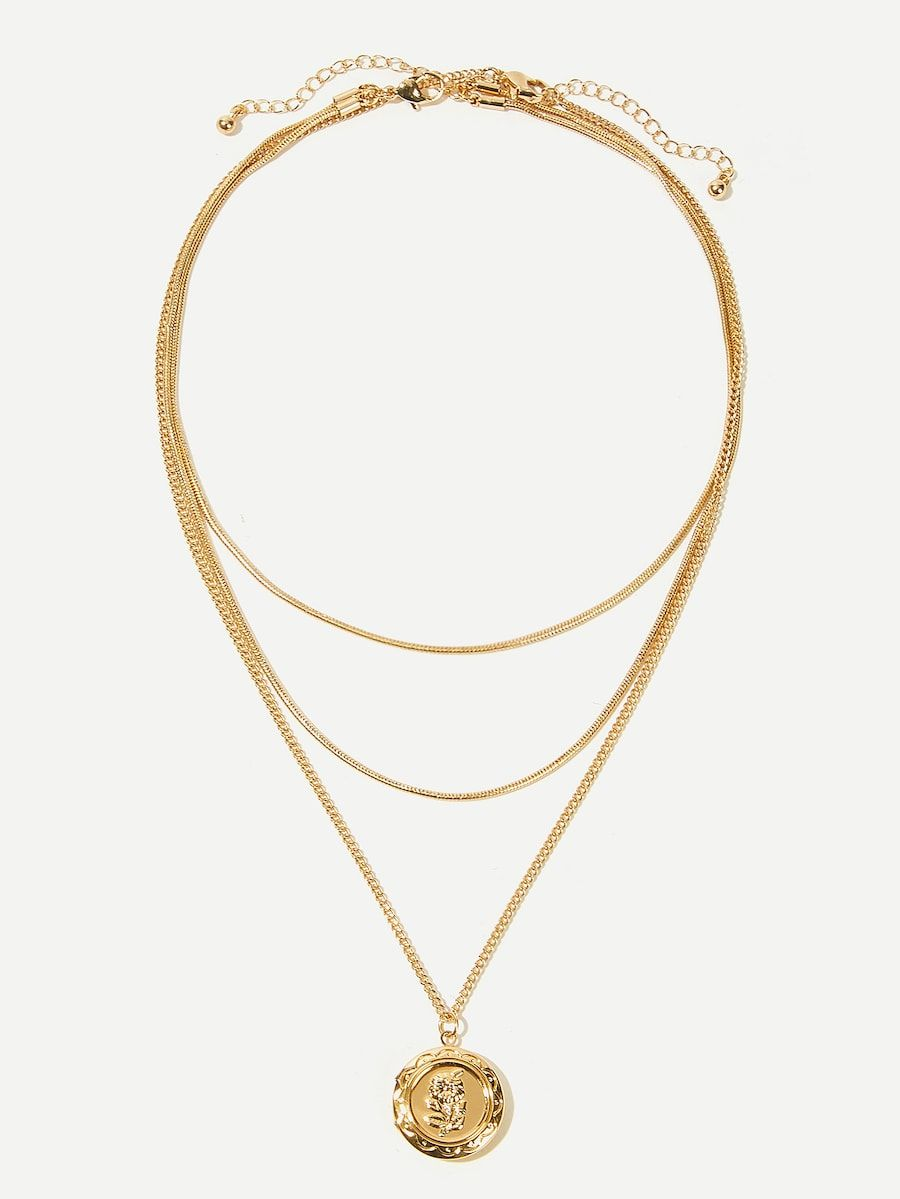 81431248b4 Flower Engraved Round Pendant Layered Necklace -SHEIN(SHEINSIDE ...
