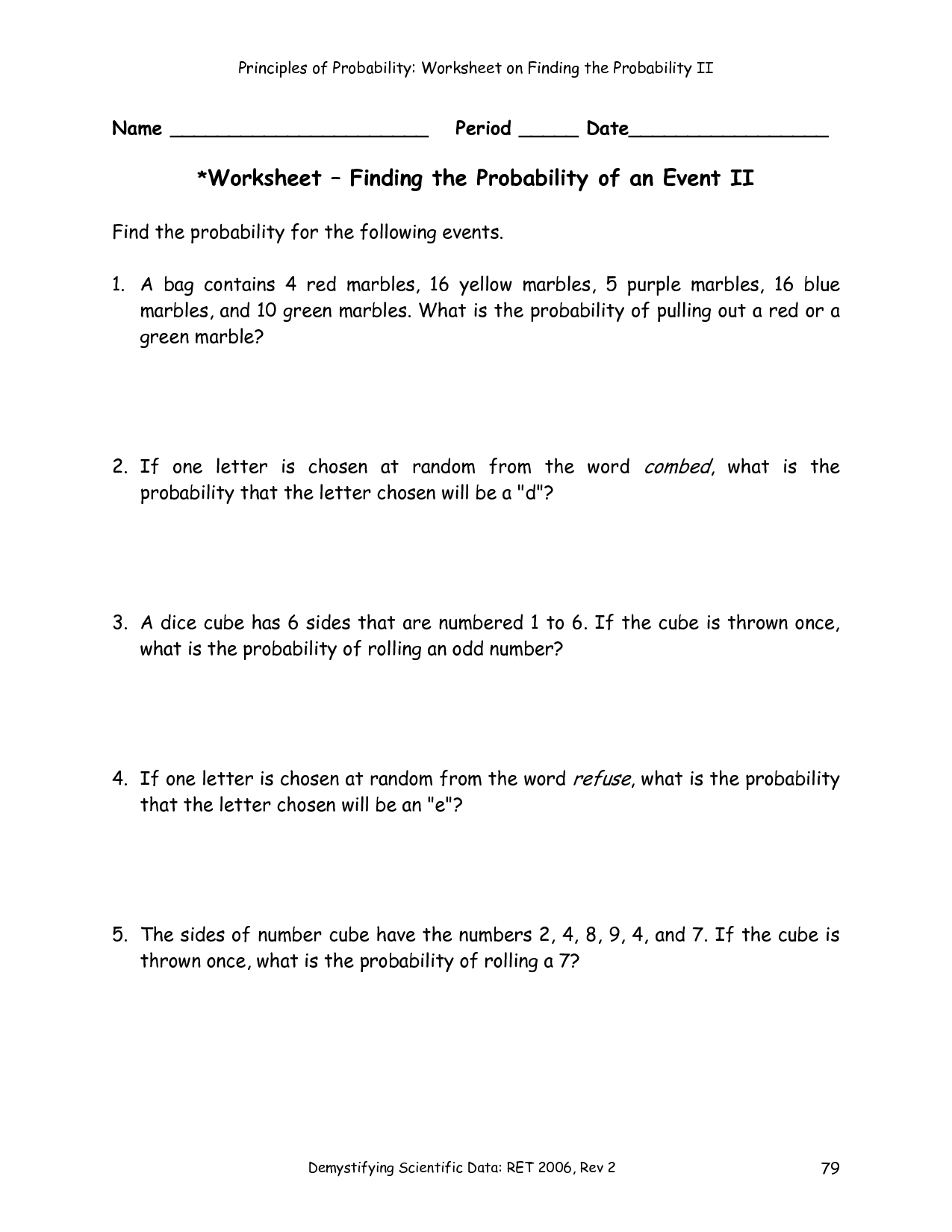 Find the probability of scoring more than 8 when two dice are rolled.   Probability  worksheets [ 1650 x 1275 Pixel ]