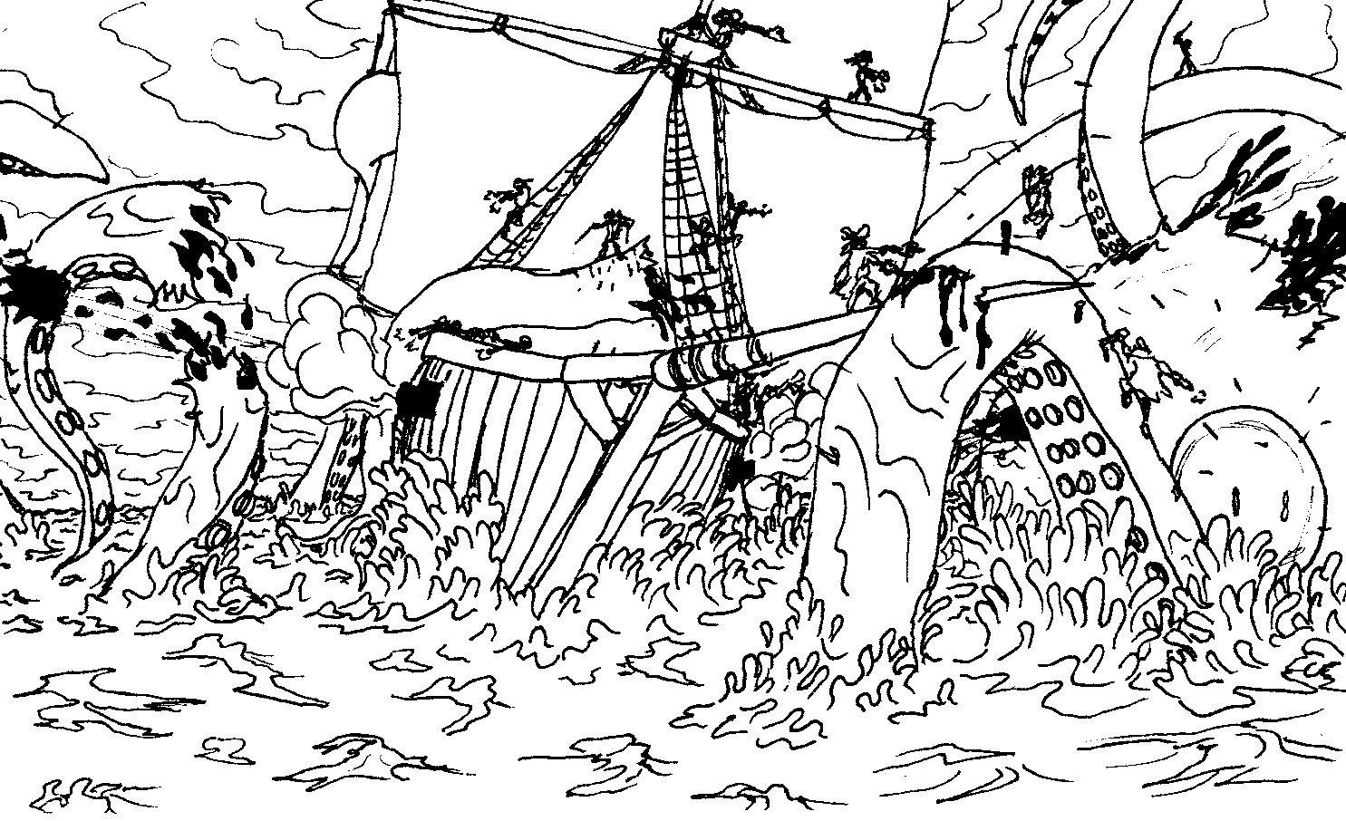 Kraken Battle By Iclhstudios Jpg 1485 906 Kraken Kids Playing Coloring Pages