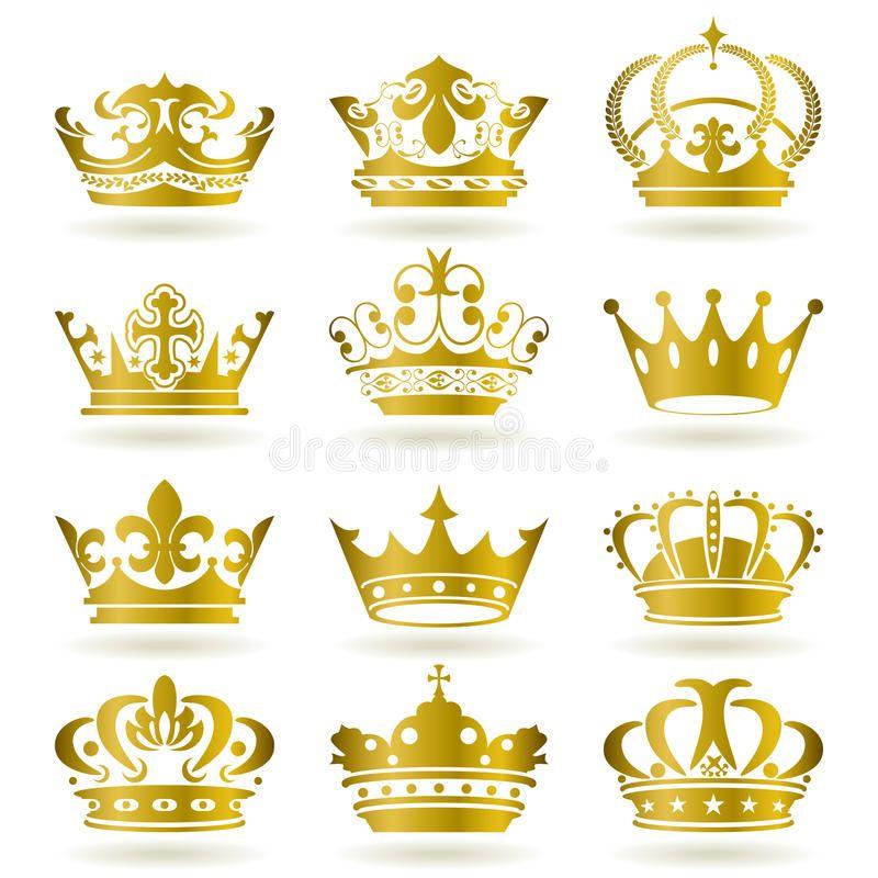 Foto Acerca Iconos De La Corona Del Oro Fijados Ilustracion Ilustracion De Grafico Conjunto Escaso Tatoo De Coronas Tatuaje De Corona Coronas Para Hombre