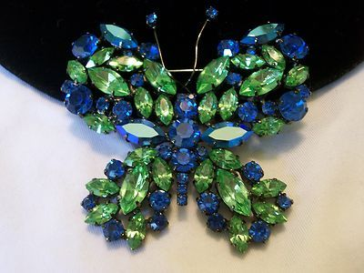 Blue Green Japanned Vintage Rhinestone Cristobal London Butterfly Brooch Pin | eBay
