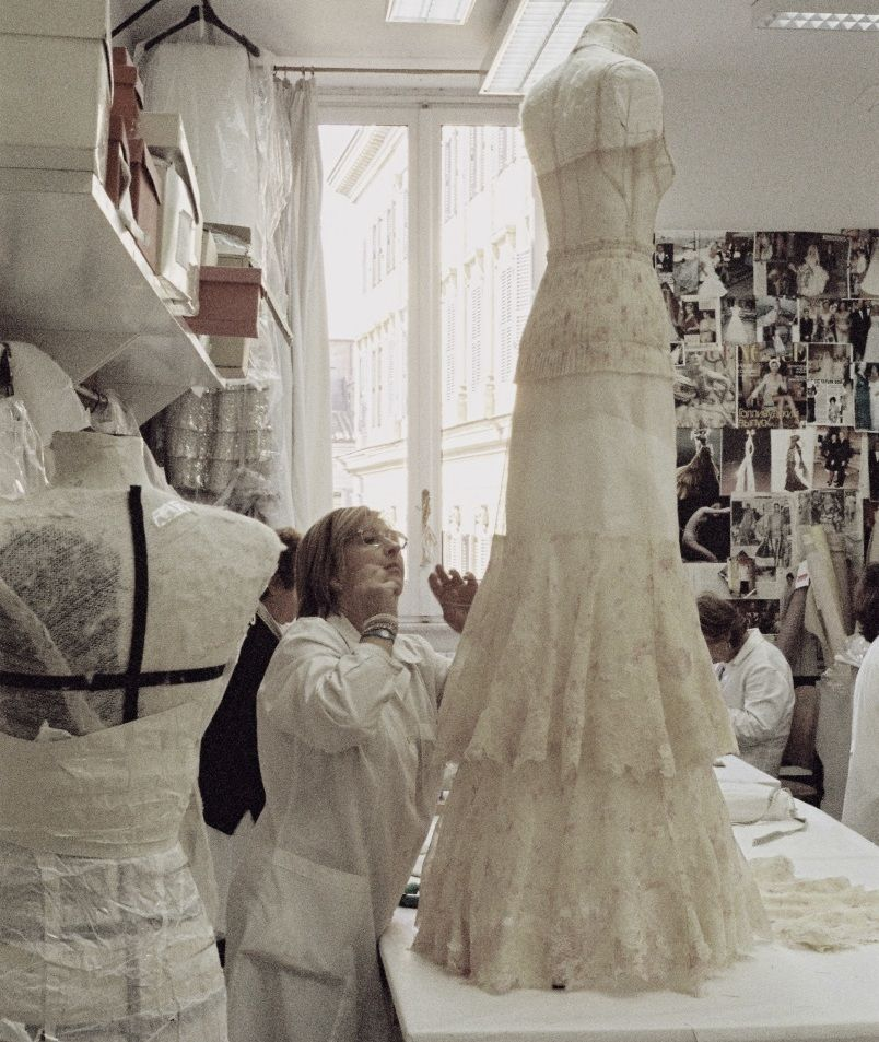 In the Atelier/Workroom. The creation of a dress presented in the ...
