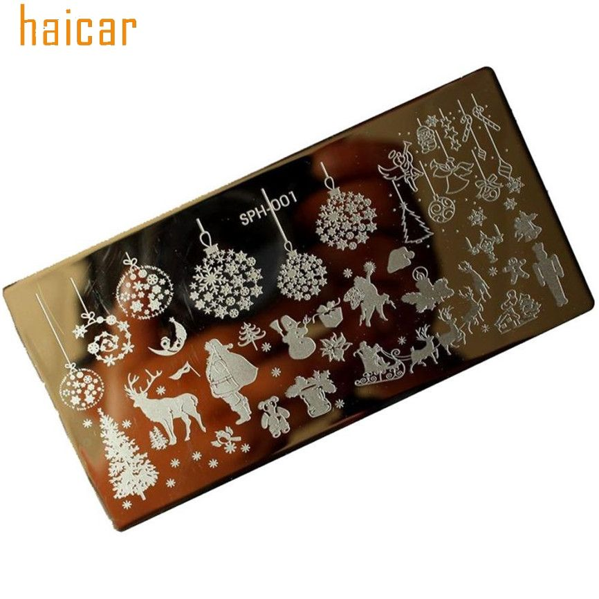 Santa Claus Nail Art: HAICAR DIY Christmas Trees Moose Santa Claus Nail Art