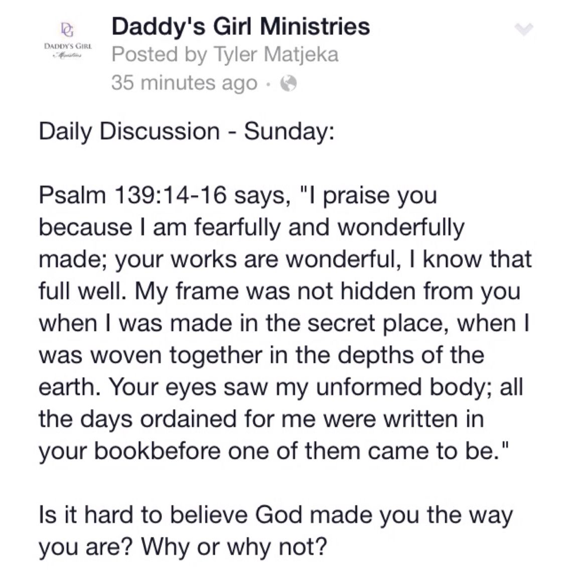 Please join us in our #DailyDiscussion! Today: #Psalm 139:14-16 says ...