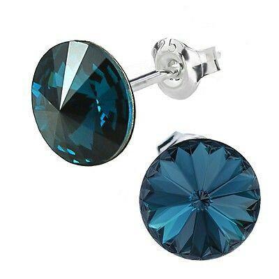 Ebay-bp_natural_uk -925 Sterling Silver Earrings Stud Rivoli 12 mm Crystals from Swarovski®-Montana -$7.40