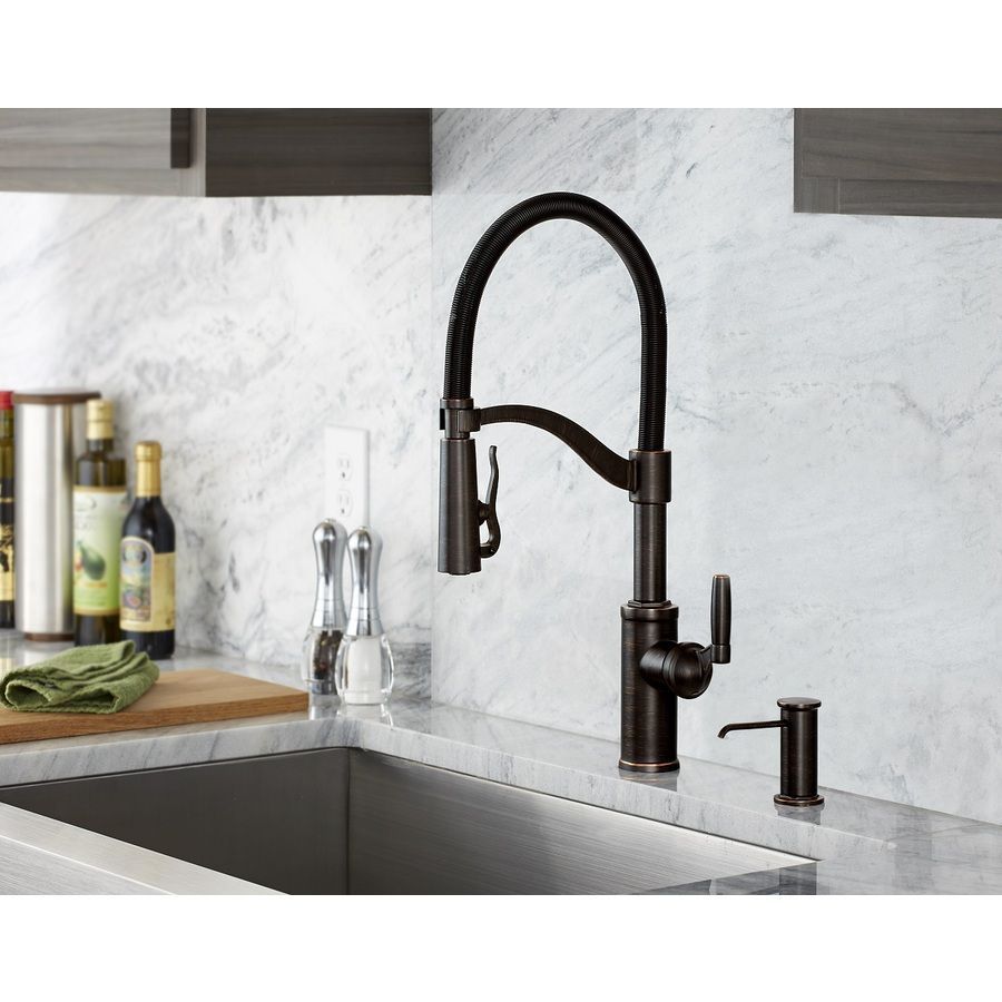 Shop Giagni Pompa Vintage Bronze 1-Handle Pull-Down Kitchen Faucet ...