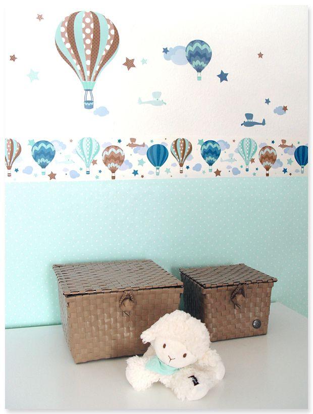 Heißluftballons Boys taupe/mint: Selbstklebende Kinderzimmer Bordüre ...