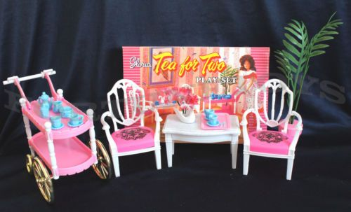 GLORIA FURNITURE SIZE TEA TIME CART SET 4 Servings PLAY SET FOR DOLL HOUSE