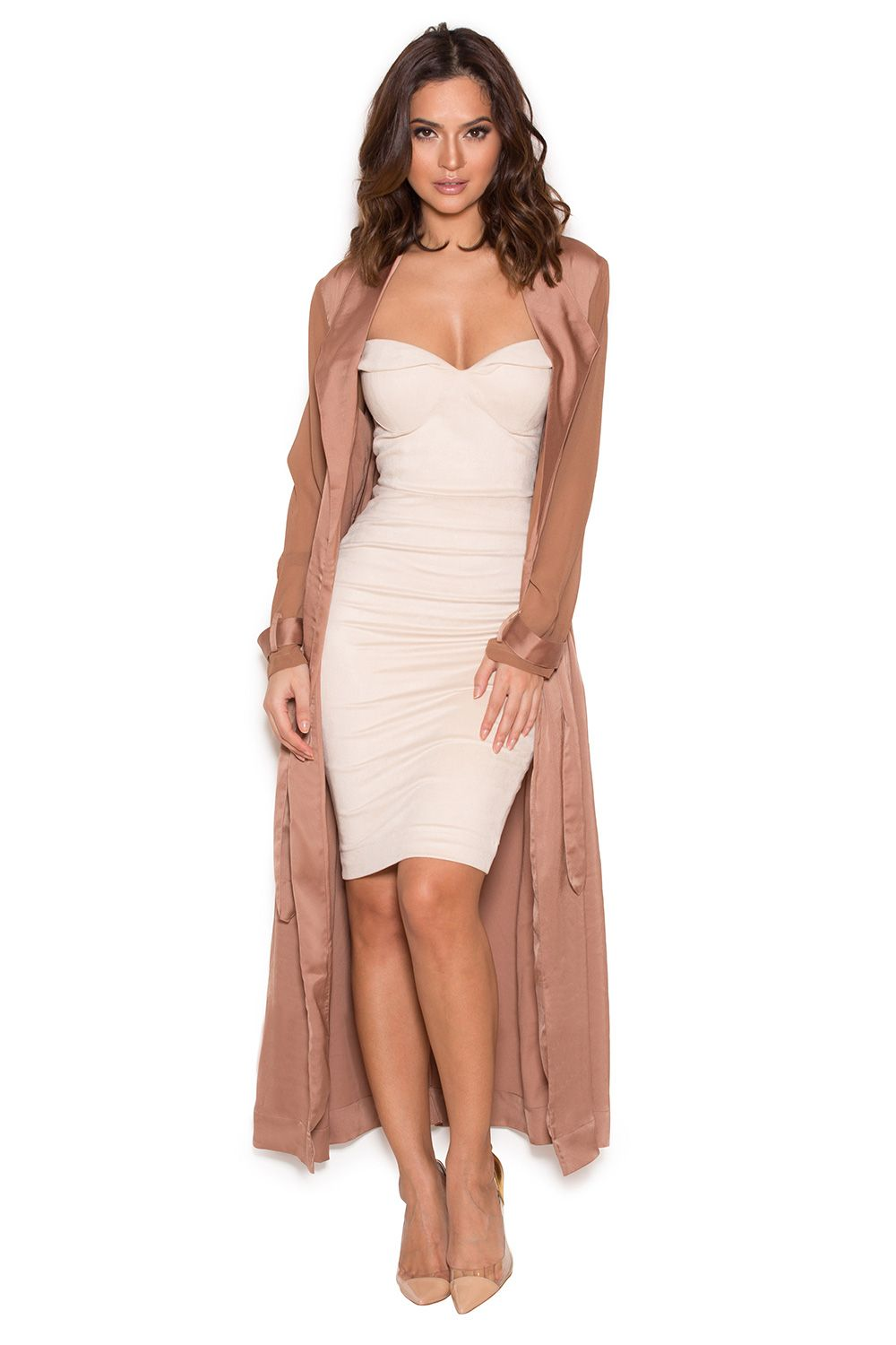 Clothing : Jackets : 'Coryn' Rose Gold Silky Duster Coat | Duster ...