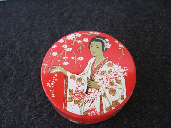 """Vintage Madame Butterfly Typewriter Ribbon Tin Desirable vintage """"The Madame Butterfly Brand"""" typewriter ribbon tin for sale. Tin features a geisha on the top. In very good condition for its age(see pics). Measurements: Approx 2 5/8"""" in diameter."""
