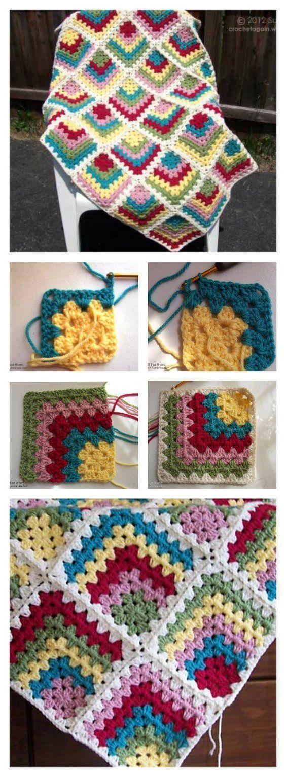 Free Mitered Granny Square Afghan Crochet Pattern | Manta, Cobija y ...