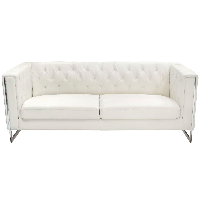 Diamond Sofa Chelsea Sofa Tufted White Leatherette Chrome Legs Sofa White Sofas Metal
