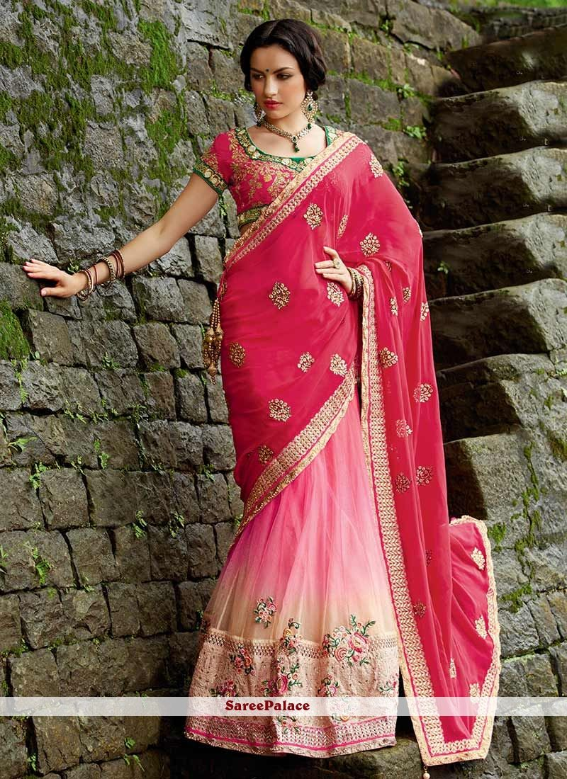 f0a39854e5 Dark Pink Shaded Net And Georgette Lehenga Style Saree in 2019 ...