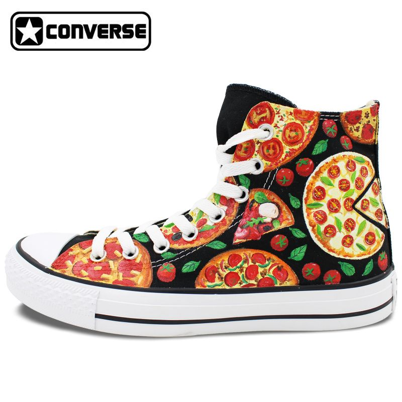 Converse Original Hand Painted PIZZA Shoes Sneakers Canvas Flats Men Women  Skateboarding Shoes Brand Design All c9690f9b09c0