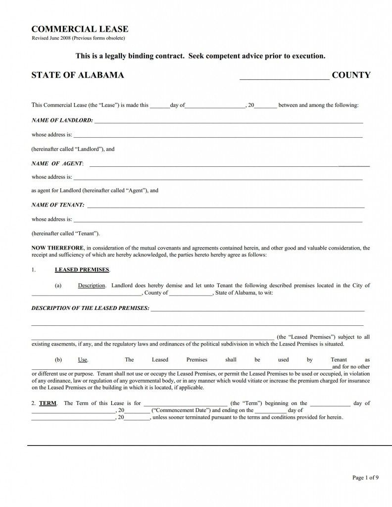 Alabama Commercial Lease Agreement Printable Agreements