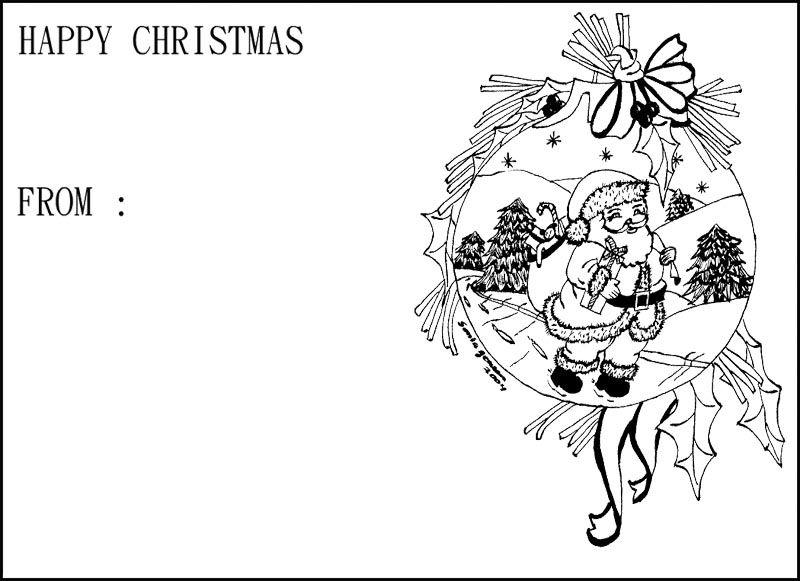 Greeting Card Christmas With Santa Walking Coloring Page Christmas
