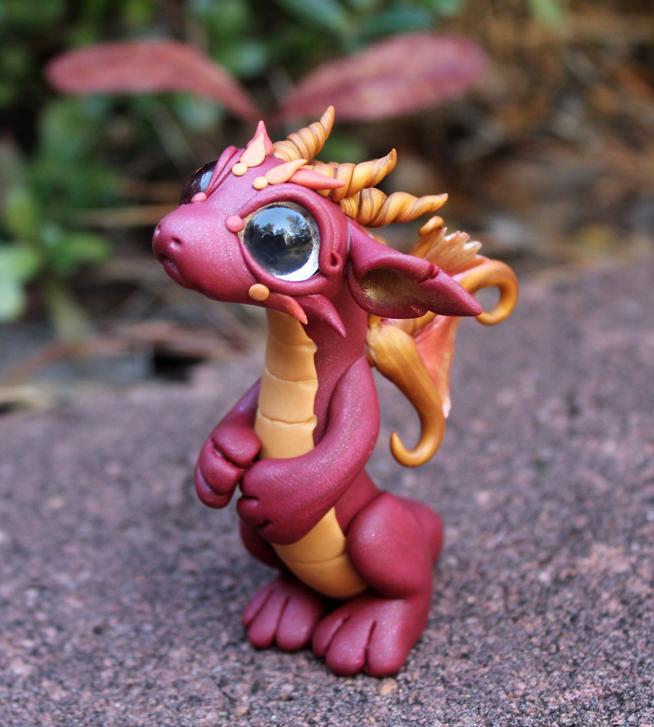 Red Clay Dragon: Bitty Baby Red Dragon With Fairy Wings.