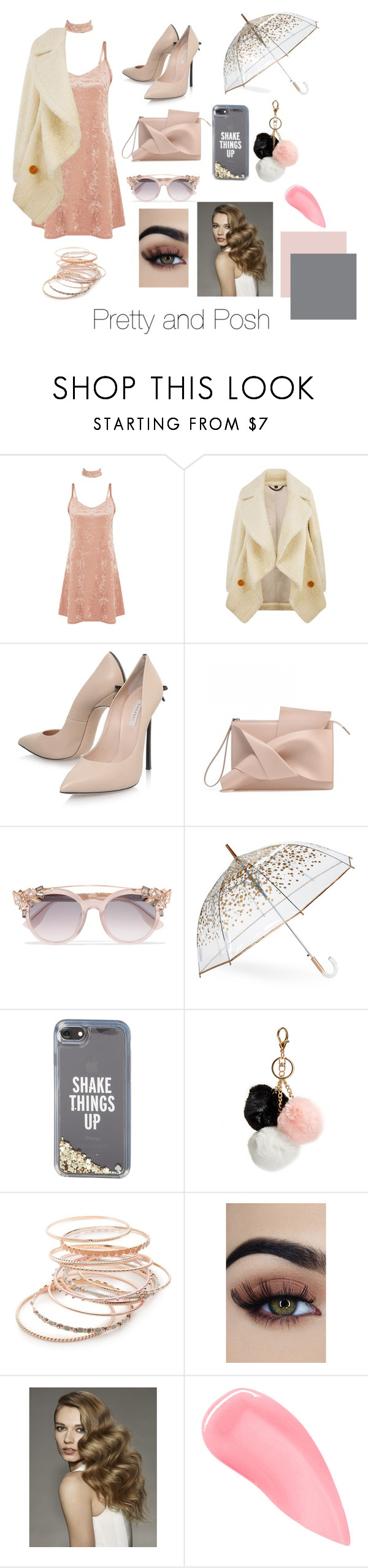 """Pretty and Posh"" by lydiagrayyoung on Polyvore featuring Burberry, Casadei, Jimmy Choo, ShedRain, Kate Spade, GUESS, Red Camel and Kevyn Aucoin"