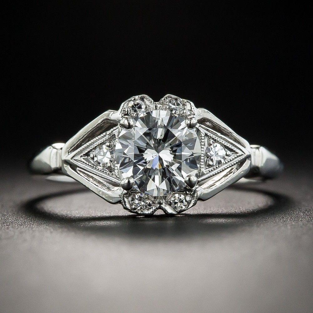 .94 Carat Diamond Platinum Vintage Engagement Ring GIA D