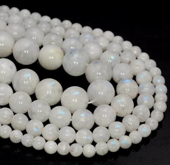 New 4mm Natural White Moonstone Gemstone Faceted Round Loose Beads 15/'/' AA