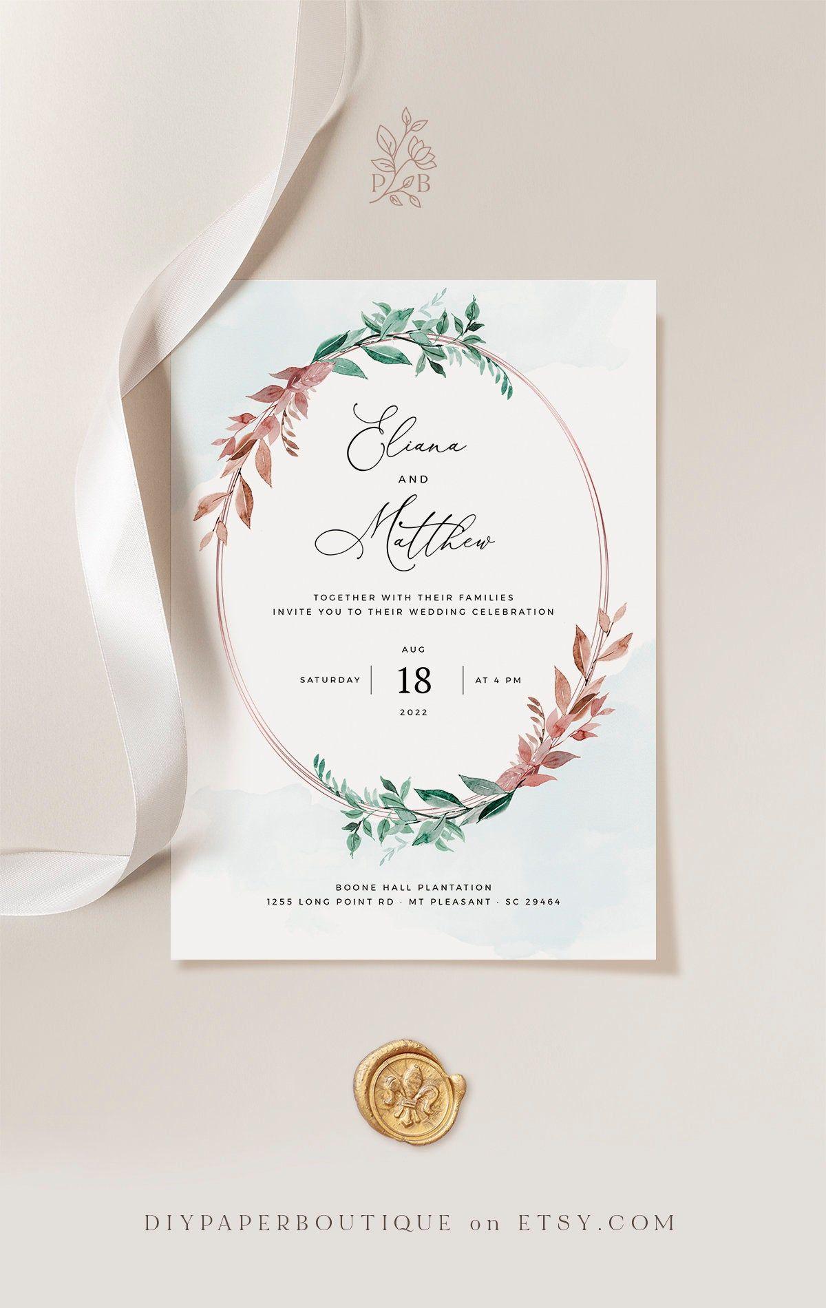 Yess Copper Sage Green Wedding Invitation Template Rustic Watercolor Editable Prin Wedding Invitation Templates Copper Invitation Wedding Invitation Design