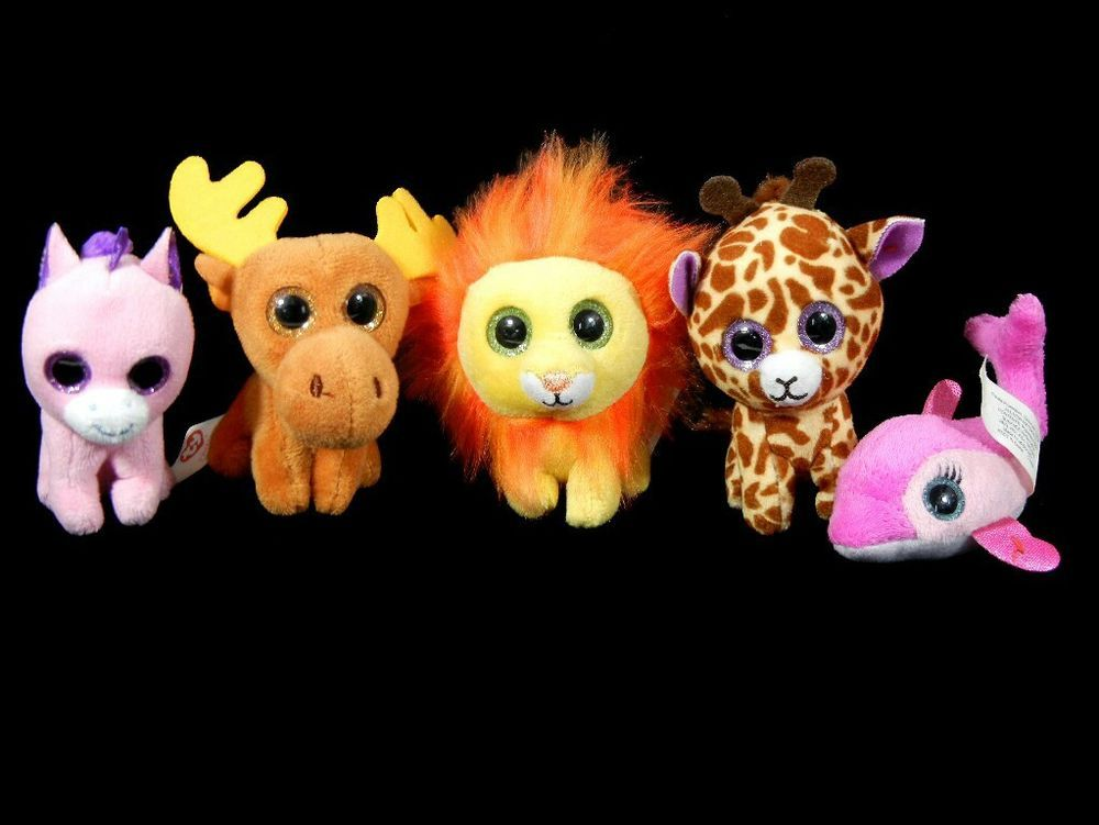 Ty McDonalds Teenie Beanie Boos Lot Of 5 Mini Stuffed Animals Unicorn Lion  Moose  Ty a84030fadb4