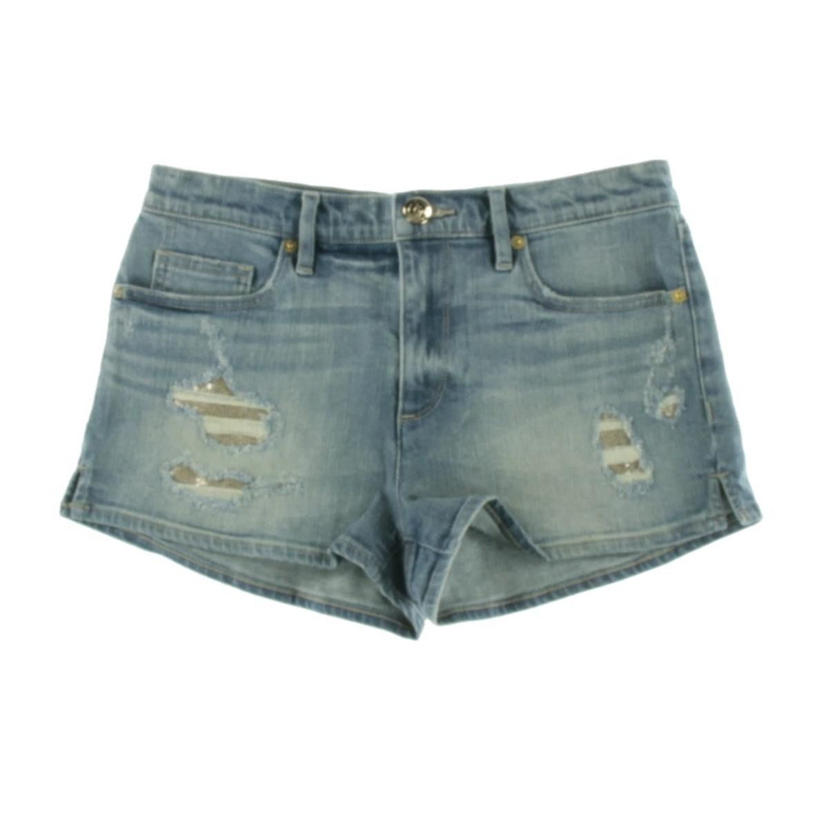 Juicy Couture Black Label Womens Clyde Wash Sequin Patched Denim Shorts