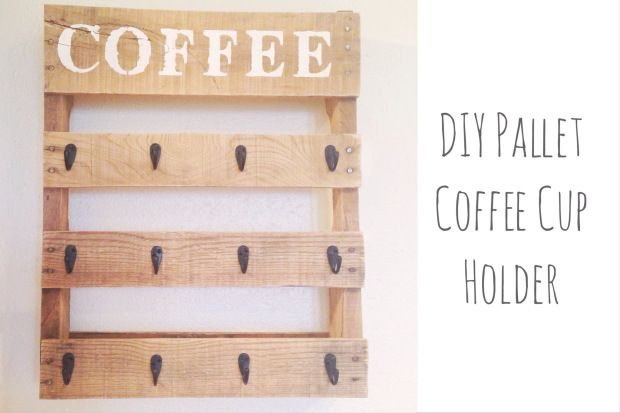 Diy Pallet Coffee Cup Holder Coffee Cup Holder Diy Mugs Wooden Pallet Crafts