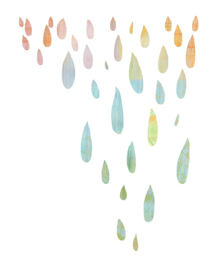 rain drops - colorful pastel dripping silhouettes on white - 8.5 x 11 contemporary abstract art print. $20.00, via Etsy.