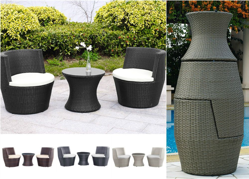 Garden Furniture Rattan Stack Vase Set Table And 2 Chairs Outdoor Stacking Weave