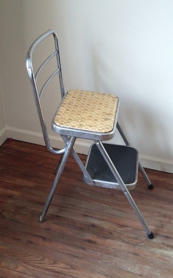 Vintage Folding Step Stool Chair Mid Century By