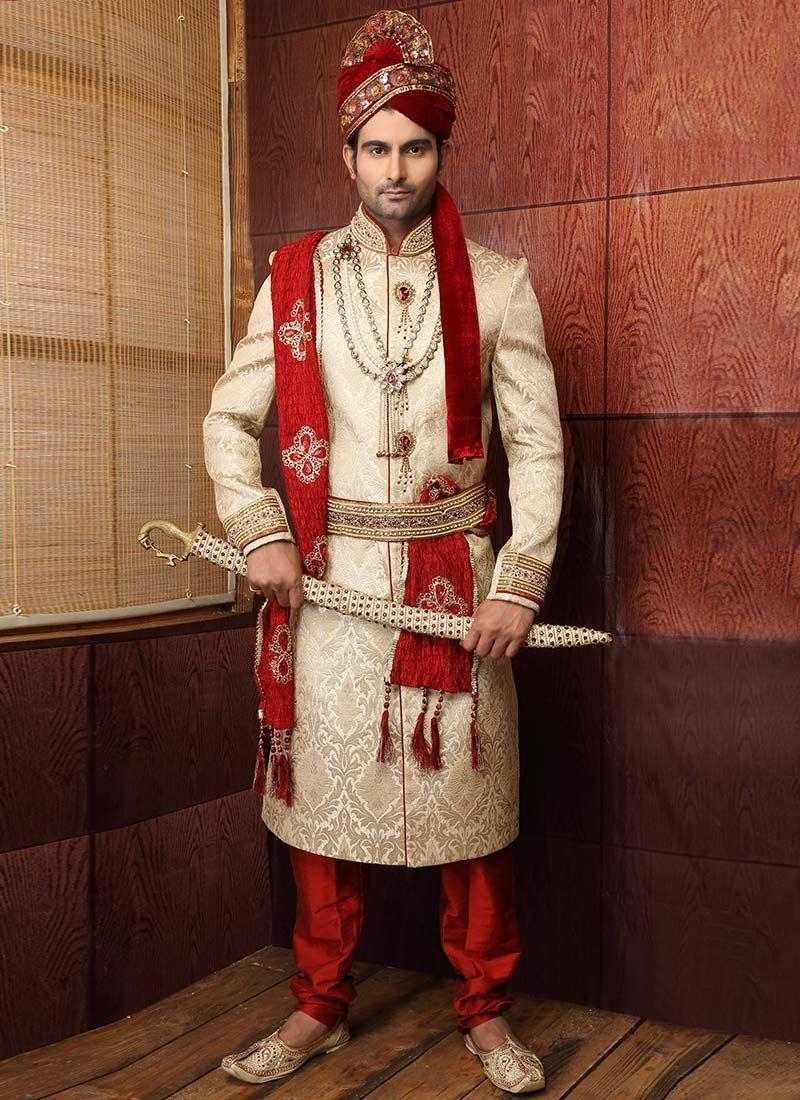 Charming beige benarasi silk sherwani man hindie fashions