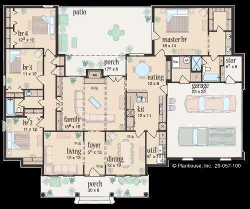 Room For A Safe Room Ranch Style House Plans House Plans One Story House Plans