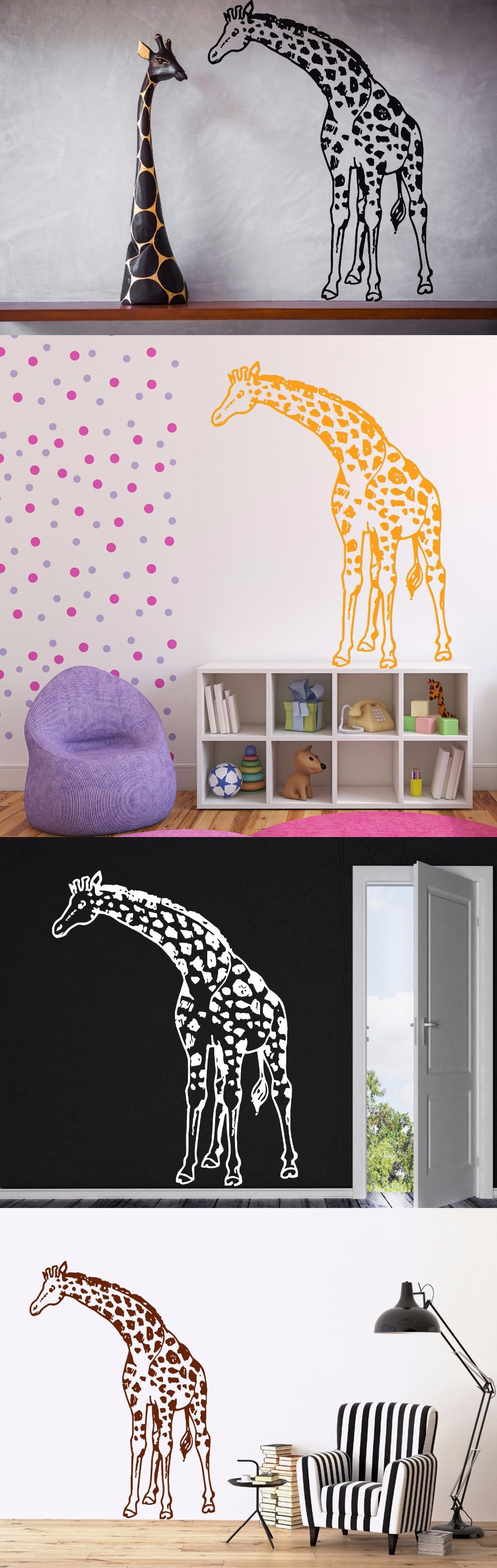 Giraffe Vinyl Wall Decal Animals Jungle Safari African Animal - Vinyl wall decals animals