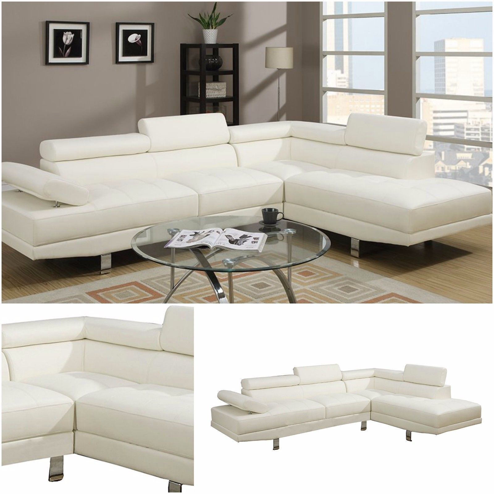 Faux Leather Sectional Right Chaise Foam Sofa Adjustable Armrest ...