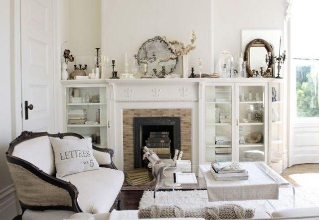 wohnzimmer französischer landhausstil weiße farbe kamin ...